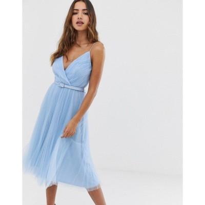 エイソス レディース ワンピース トップス ASOS DESIGN belted pleated tulle cami midi dress Blue