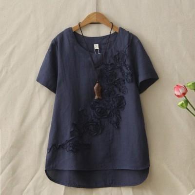 全品ロング丈日系森ガールシャツ花柄夏新作丸首綿麻素材ゆったりレディース半袖Tシャツ通気性よい爽やか清純柔らかい