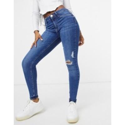 リバーアイランド レディース デニムパンツ ボトムス River Island Molly ripped skinny jeans in mid authentic blue Mid auth