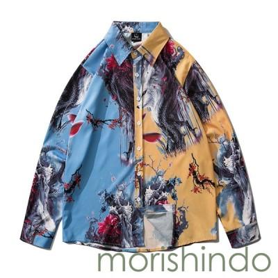 トップス メンズ オシャレシャツ カジュアルシャツ 長袖 秋 カジュアル ゆったり プリント 大きいサイズ 開襟シャツ 軽い 柔らかい
