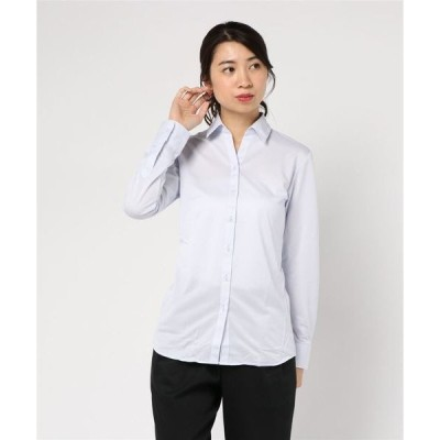シャツ ブラウス 【完全ノーアイロン】アイシャツ ブラウス 角度付きスキッパー衿 定番ツイル柄【i-shirt】