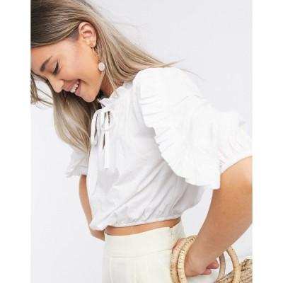 インフルエンス レディース カットソー トップス Influence cotton poplin ruffle detail blouse in white White