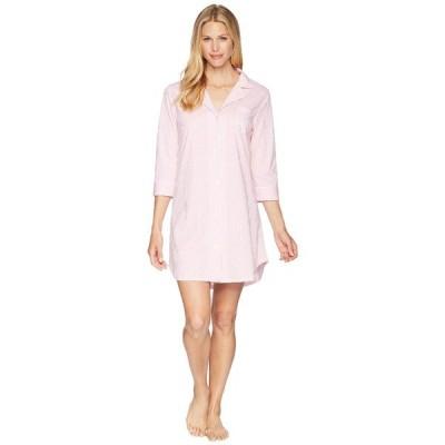 ラルフローレン ナイトウェア アンダーウェア レディース Essentials Bingham Knits Sleep Shirt Pink/White Stripe