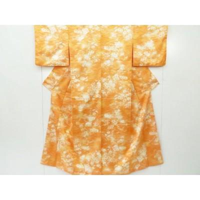 リサイクル 洗える小紋 菊と芝草文 着物