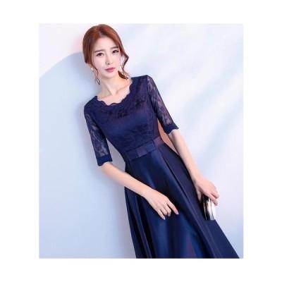 花柄レース ミモレ丈 ドレス ( ブルー ) 結婚式 お呼ばれ 二次会 袖あり 透け感 レース 魅力