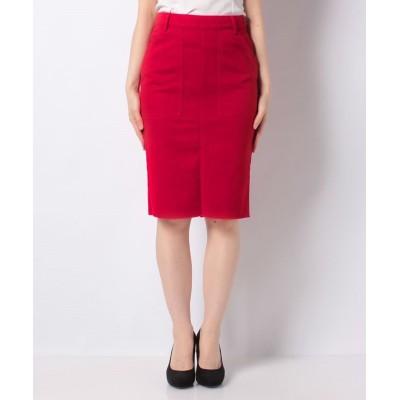 (BENETTON (women)/ベネトン レディース)バックポケット刺繍ミディカットオフタイトスカート/レディース レッド