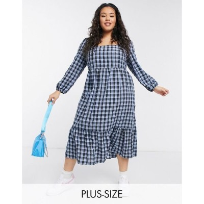 ニュールック レディース ワンピース トップス New Look Curve shirred midi smock dress in blue plaid Red pattern