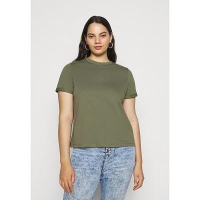 ピーシーズ カーブ Tシャツ レディース トップス PCRIA FOLD UP SOLID TEE - Basic T-shirt - deep lichen green