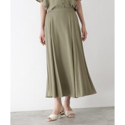 スカート [洗える]リネンライクロングフレアスカート