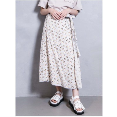 merry jenny flowerパイピングラップスカート(ホワイト)