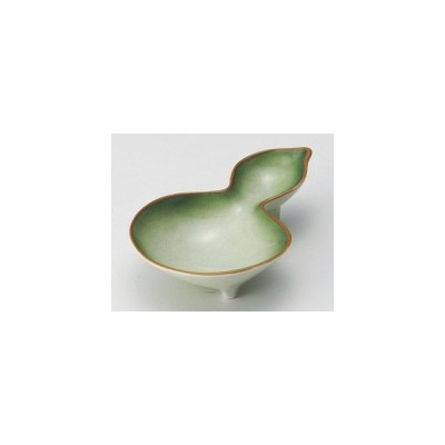和食器緑翠ヒサゴ三ツ足珍味/大きさ・11.5×8×3cm