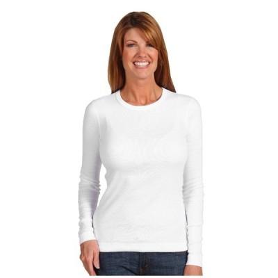 スリードッツ シャツ トップス レディース 100% Cotton Heritage Knit Long Sleeve Crewneck White