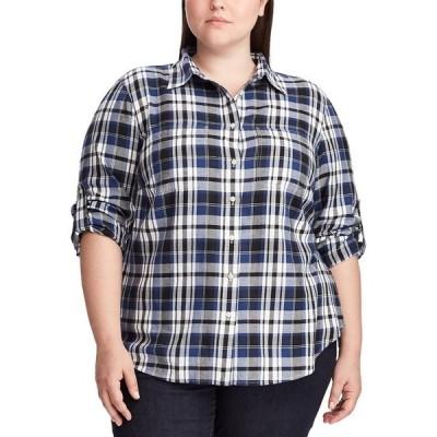 ラルフローレン レディース シャツ トップス Plus Size Plaid Roll Tab Button-Down Shirt