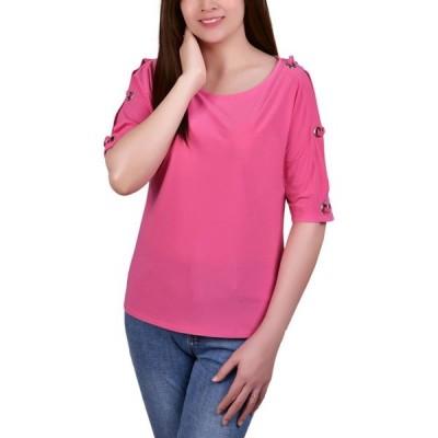 NY コレクション NY Collection レディース トップス Petite Grommet-Trim Split-Sleeve Top Miami Pink