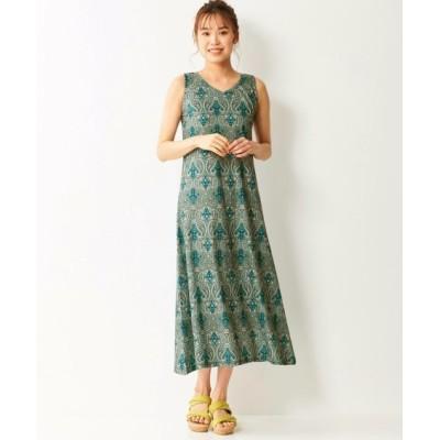 【大きいサイズ】 総柄カットソーロングワンピース ワンピース, plus size dress