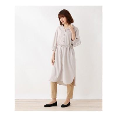 シューラルー SHOO-LA-RUE オープンカラー七分袖シャツワンピース (ライトベージュ)