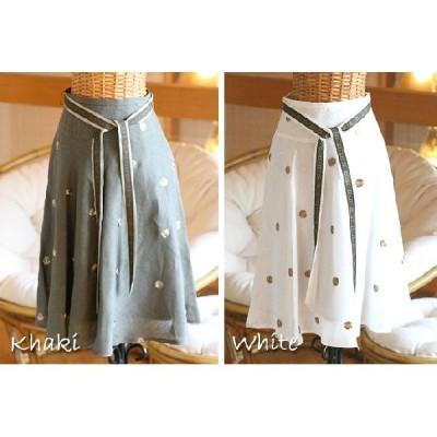 (激安セール)フレンチファブリック 繊細ローズ刺繍スカート(送料無料)(返品 交換 ギフト包装不可)