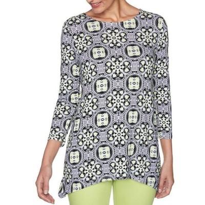 ルビーアールディー レディース Tシャツ トップス Petite Size Vibrant Geo Foulard Print 3/4 Sleeve Handkerchief Hem Top