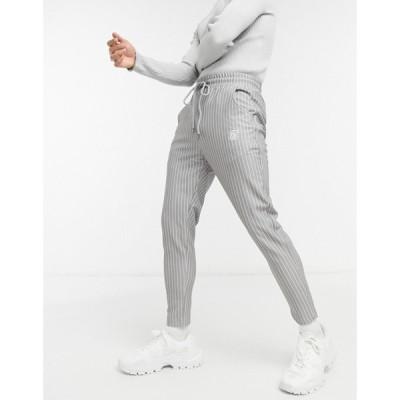 シックシルク SikSilk メンズ クロップド スキニー・スリム ボトムス・パンツ slim cropped trousers in grey pinstripe グレー