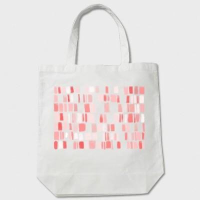 帆布、布製 トートバッグ 白 かわいい赤やピンクのタイル柄「tileピンク」