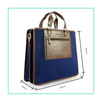 【新品】Becko Cotton Canvas Crazy-Horse PU Leather Cross Body Briefcase Laptop Bag Ultrabook Netbook Bag/Carrying Protector Case Sleeve for up to