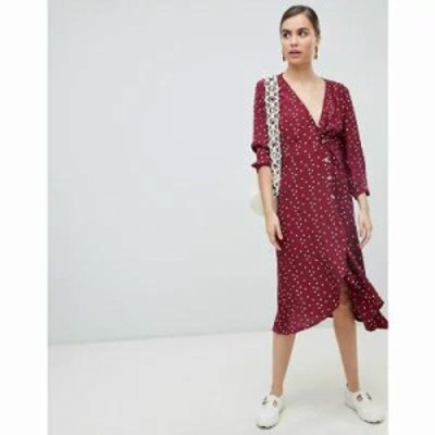 モンキー ワンピース wrap polka dot dress with buttons in burgundy Red