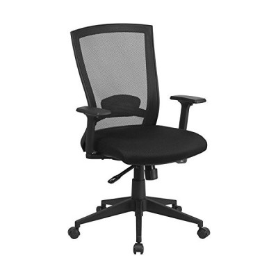 Emma + Oliver Mid-Back Black Mesh Swivel Ergonomic Office Chair Back Angle Adjustment and Arms並行輸入品