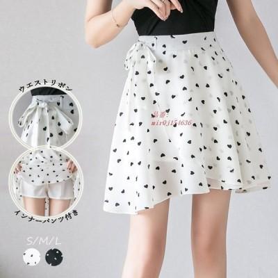 ミニスカート リボン インナーパンツ付き ファスナー付き シフォン レデイース フレアスカート 可愛い