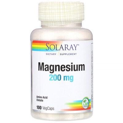 マグネシウム、200mg、植物性カプセル100粒