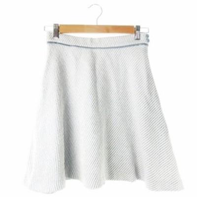 【中古】アプワイザーリッシェ Apuweiser-riche スカート フレア ミニ ウール混 ストライプ 2 水色 ライトブルー