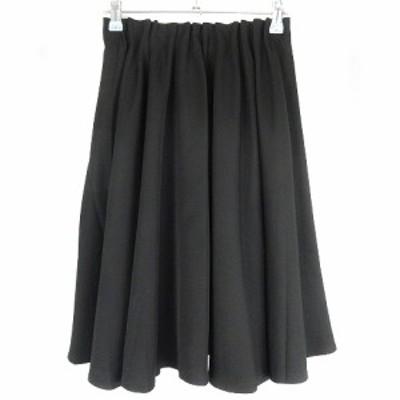 【中古】トッコ TOCCO closet スカート フレア ひざ丈 ギャザー 薄手 無地 M 黒 ブラック ボトムス /NF レディース