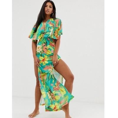 エイソス レディース ワンピース トップス ASOS DESIGN slinky jersey beach maxi dress with ring detail in oversized tropical floral print