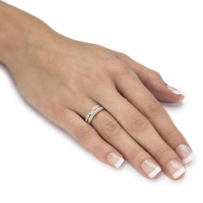 10k Yellow Gold White Diamond Wedding Ring 2 Piece Set .12 Cttw, HI Co