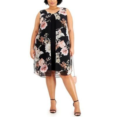 コネクテッド ワンピース トップス レディース Plus Size Floral-Print Popover Sheath Dress Melon