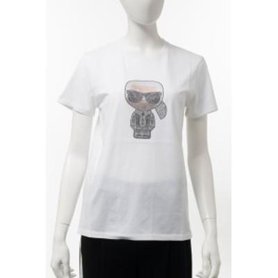 カールラガーフェルド KARL LAGERFELD Tシャツ 半袖 丸首 クルーネック ホワイト レディース (205W1704) 2020年秋冬新作