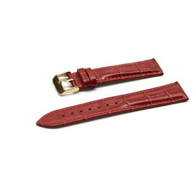 腕時計 ベルト 16mm 17mm 18mm 19mm 20mm 21mm 22mm 24mm レザー クロコダイル型押し 牛 革 赤 ピンバックル イエロー ゴールド l001re-n-y