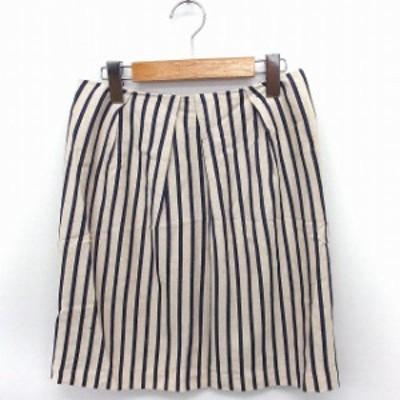 【中古】ストロベリーフィールズ STRAWBERRY-FIELDS スカート ストライプ 台形 ひざ丈 綿 2 オフホワイト 白 /FT45