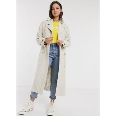 エイソス ASOS DESIGN レディース トレンチコート アウター luxe oversized linen look trench coat in cream クリーム