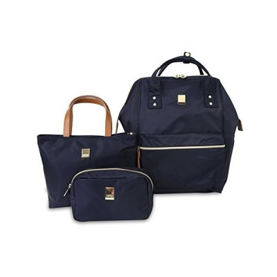 """J World New York Posy 3-Piece Backpack with Tote and Pouch, Navy, 16""""【並行輸入品】"""
