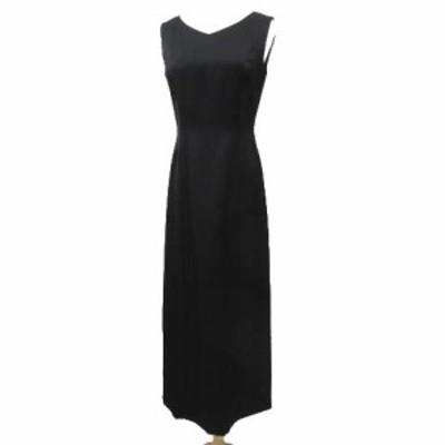【中古】エムズグレイシー M'S GRACY ワンピース ロング Vネック ノースリーブ ドレス 9 Mサイズ 黒 IBS91 レディース
