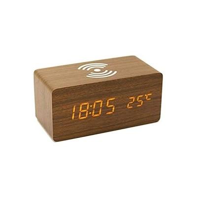 AITOO 目覚まし時計 LED置き時計 ワイヤレス充電 木目調アラームクロック スマホ充電 多機種対応 音声感知 カレンダー付き 温度計時間記憶 省
