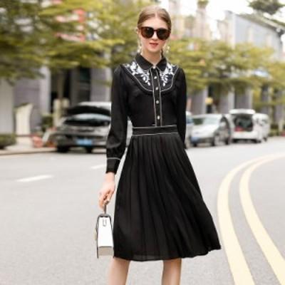 襟付き バイカラー 花柄刺繍 ウエストマーク プリーツ エレガント ベーシックカラー 膝丈 ドレス