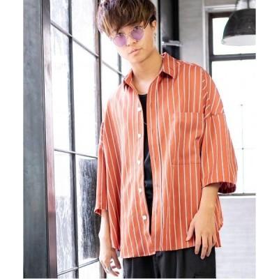 シャツ ブラウス シングル ストライプ / 抜き襟 / ビッグシルエット / オーバーサイズ シャツ / 半袖