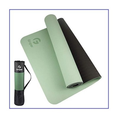 Gruper TPE Yoga Mat ,Pro Yoga Mat Eco Friendly Non Slip Fitness Exercise Mat with Carrying Strap,Workout Mat for Yoga, Pilates and Floor Exe