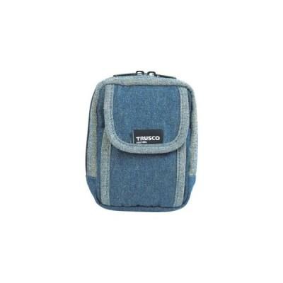 トラスコ デニム携帯電話用ケース 2ポケット ブルー TDC-H101