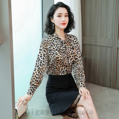 トップスブラウスヒョウ柄フリルオシャレカワイイデートお出掛け韓国スタイル韓国ファッション通勤30代40代
