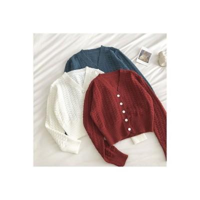 【送料無料】波 紋 セーターの女性 秋冬 新品 韓国風 レトロ 襟 シングル列ボタン 西洋風 | 346770_A63811-8557611