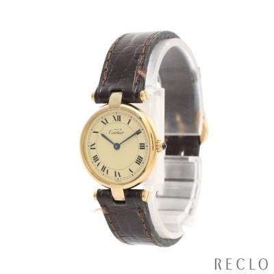 カルティエ マスト ヴァンドーム ヴェルメイユ レディース 腕時計 クオーツ SV925 レザー ゴールド ダークブラウン ゴールド文字盤 型押しベルト 590004