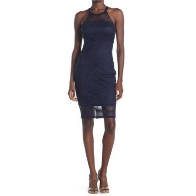 ゲス レディース ワンピース トップス Illusion Halter Neck Lace Bodycon Dress NAVY