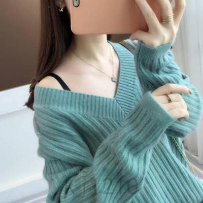 ニットセーターレディースニット7色長袖大人ゆったり着やすいセータリーブ長袖人気秋冬